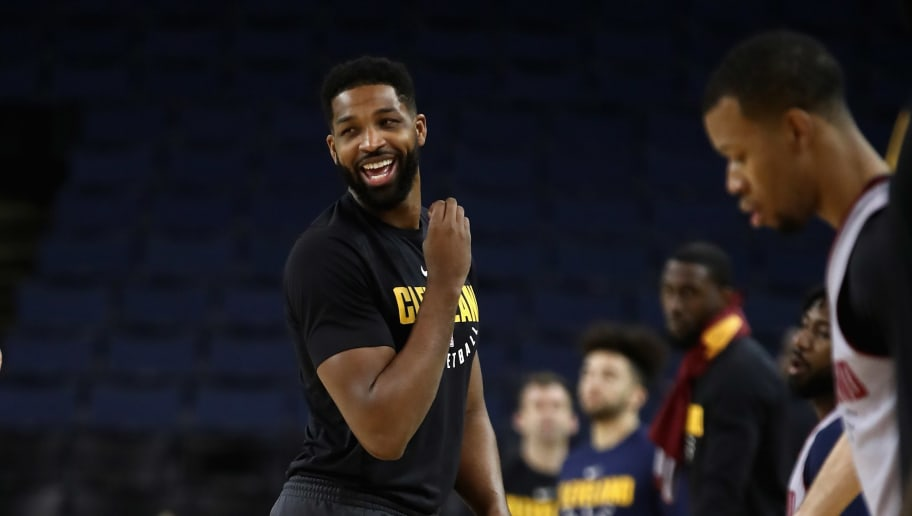 OAKLAND, CA - MAY 30: Tristan Thompson #13 of the Cleveland Cavaliers works out during the 2018 NBA Finals Media Day at ORACLE Arena on May 30, 2018 in Oakland, California. The Cleveland Cavaliers play against the Golden State Warriors in Game One of the Finals tomorrow night. NOTE TO USER: User expressly acknowledges and agrees that, by downloading and or using this photograph, User is consenting to the terms and conditions of the Getty Images License Agreement.  (Photo by Ezra Shaw/Getty Images)