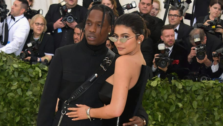 NEW YORK, NY - MAY 07:  Travis Scott and Kylie Jenner attend the Heavenly Bodies: Fashion & The Catholic Imagination Costume Institute Gala at The Metropolitan Museum of Art on May 7, 2018 in New York City.  (Photo by Neilson Barnard/Getty Images)