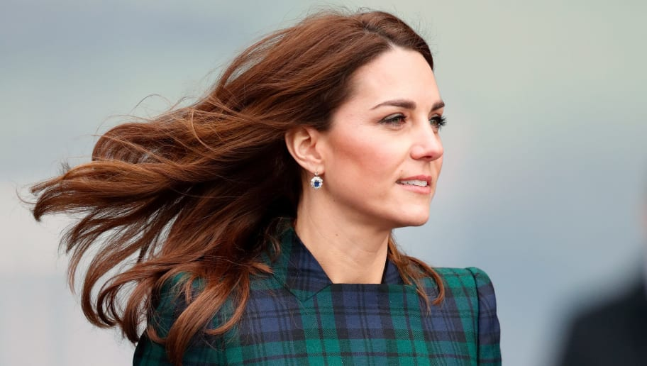 DUNDEE, UNITED KINGDOM - JANUARY 29: (EMBARGOED FOR PUBLICATION IN UK NEWSPAPERS UNTIL 24 HOURS AFTER CREATE DATE AND TIME) Catherine, Duchess of Cambridge, who is known as the Duchess of Strathearn in Scotland, arrives to officially open V&A Dundee, Scotland's first design museum on January 29, 2019 in Dundee, Scotland. (Photo by Max Mumby/Indigo/Getty Images)