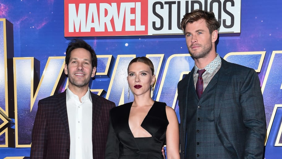 LONDON, ENGLAND - APRIL 10:  (L-R) Paul Rudd, Scarlett Johansson and Chris Hemsworth attend the UK Fan Event to celebrate the release of Marvel Studios' 'Avengers: Endgame' at Picturehouse Central on April 10, 2019 in London, England. (Photo by Eamonn M. McCormack/Getty Images for Disney)