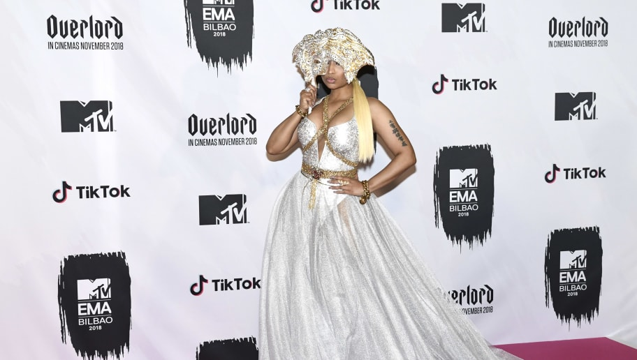 BILBAO, SPAIN - NOVEMBER 04: Nicki Minaj poses in the Winners room during the MTV EMAs 2018 on November 04, 2018 in Bilbao, Spain. (Photo by Carlos Alvarez/Getty Images for MTV)