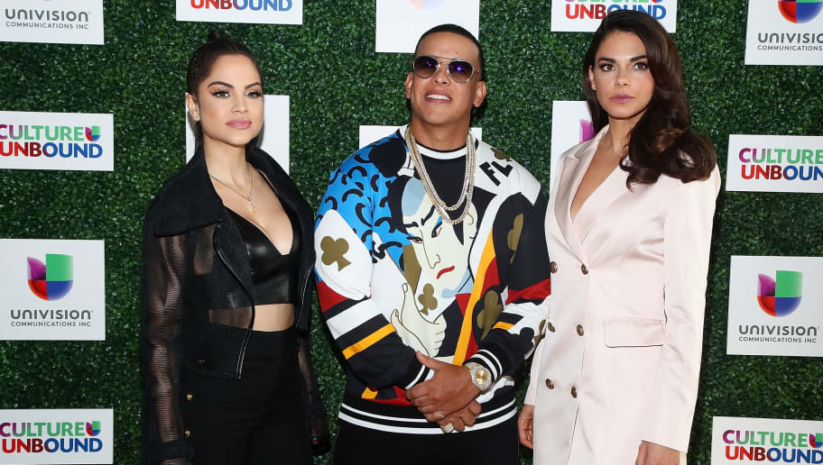 NEW YORK, NY - MAY 14:  (L-R) Natti Natasha, Daddy Yankee and Livia Brito Pestana attend the 2018 Univision Upfront at Spring Studios on May 14, 2018 in New York City.  (Photo by Astrid Stawiarz/Getty Images)