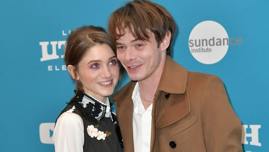 "PARK CITY, UT - JANUARY 27: (EDITORS NOTE: Retransmission with alternate crop.)   Natalia Dyer (L) and Charlie Heaton attend the ""Velvet Buzzsaw"" Premiere during the 2019 Sundance Film Festival  at Eccles Center Theatre on January 27, 2019 in Park City, Utah.  (Photo by Neilson Barnard/Getty Images)"