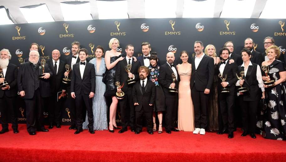 "LOS ANGELES, CA - SEPTEMBER 18:  Cast & crew of ""Game of Thrones"", winners of Best Drama Series, pose in the press room during the 68th Annual Primetime Emmy Awards at Microsoft Theater on September 18, 2016 in Los Angeles, California.  (Photo by Frazer Harrison/Getty Images)"