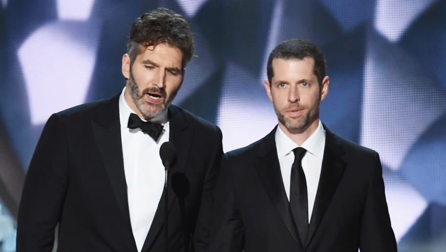 LOS ANGELES, CA - SEPTEMBER 18:  Writer/producers David Benioff (L) and D.B. Weiss accept Outstanding Writing for a Drama Series for 'Game of Thrones' episode 'Battle of the Bastards' onstage during the 68th Annual Primetime Emmy Awards at Microsoft Theater on September 18, 2016 in Los Angeles, California.  (Photo by Kevin Winter/Getty Images)