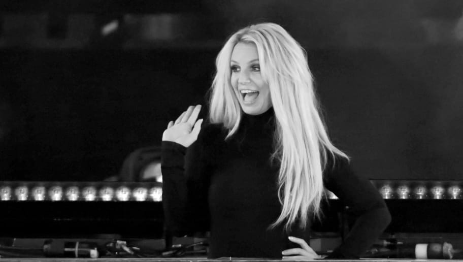 "LAS VEGAS, NEVADA - OCTOBER 18:  (EDITORS NOTE: Image was processed using digital filters) Singer Britney Spears waves as she attends the announcement of her new residency, ""Britney: Domination"" at Park MGM on October 18, 2018 in Las Vegas, Nevada. Spears will perform 32 shows at Park Theater at Park MGM starting in February 2019.  (Photo by Ethan Miller/Getty Images)"