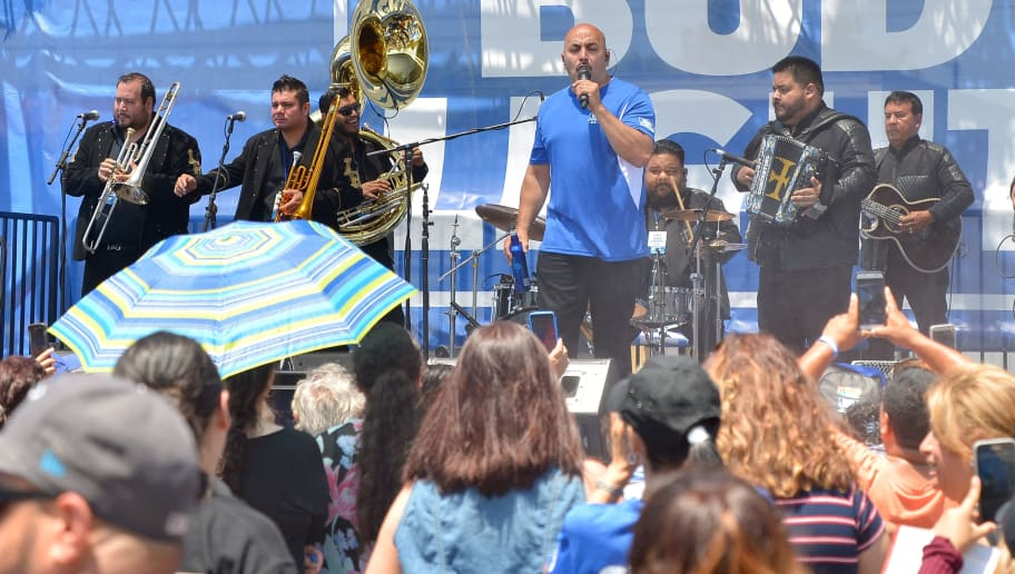 """BELL GARDENS, CA - JULY 22:  Singer-songwriter Lupillo Rivera partnered with the brand that's famous among friends to celebrate """"Hecho en Los Angeles"""", Bud Light's new campaign celebrating its Los Angeles brewing heritage at the COPA Bud Light 6v6 games at Bell Gardens Sports Center on July 22, 2017 in Bell Gardens, California.  (Photo by Charley Gallay/Getty Images for Bud Light)"""