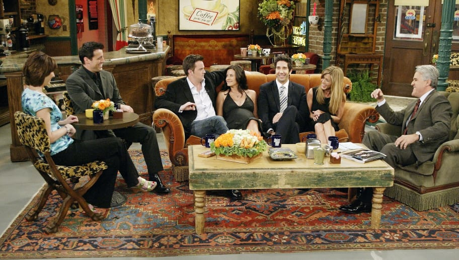 "LOS ANGELES - MAY 6:  (L-R)  In this handout photo provided by NBC, the cast of ""Friends"", actors Lisa Kudrow, Matt LeBlanc, Matthew Perry, Courteney Cox-Arquette, David Schwimmer and Jennifer Aniston sat down with Jay Leno for a special ""Tonight Show,"" on the set of Central Perk on May 6, 2004 in Los Angeles, California. (Photo by Paul Drinkwater/NBC via Getty Images)"