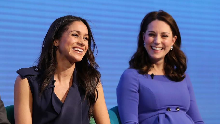 LONDON, ENGLAND - FEBRUARY 28:  Meghan Markle and Catherine, Duchess of Cambridge attend the first annual Royal Foundation Forum held at Aviva on February 28, 2018 in London, England. Under the theme 'Making a Difference Together', the event will showcase the programmes run or initiated by The Royal Foundation.  (Photo by Chris Jackson - WPA Pool/Getty Images)