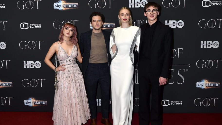 "BELFAST, NORTHERN IRELAND - APRIL 12:   Maisie Williams, Kit Harington, Sophie Turner and Isaac Hempstead Wright attend the ""Game of Thrones"" Season 8 screening at the Waterfront Hall on April 12, 2019 in Belfast, Northern Ireland. (Photo by Charles McQuillan/Getty Images)"