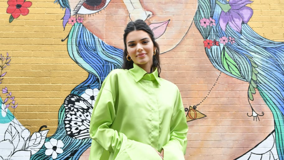 BROOKLYN, NEW YORK - JUNE 20: Proactiv Brand Ambassador Kendall Jenner stops by the #PaintPositivity #BecauseWordsMatter mural in Williamsburg on June 20, 2019 in Brooklyn, New York. (Photo by Craig Barritt/Getty Images for Proactiv)