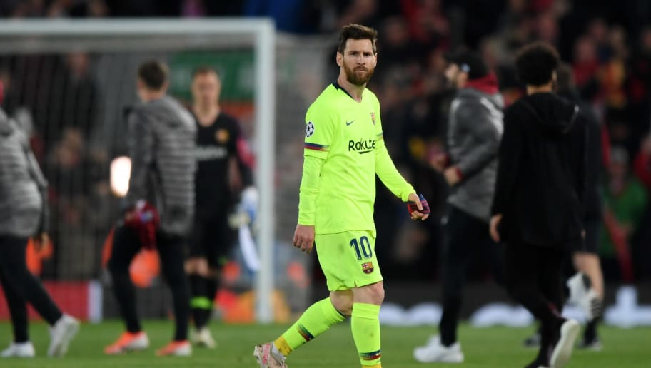 LIVERPOOL, ENGLAND - MAY 07:  Lionel Messi of Barcelona reacts in defeat the UEFA Champions League Semi Final second leg match between Liverpool and Barcelona at Anfield on May 07, 2019 in Liverpool, England. (Photo by Shaun Botterill/Getty Images)