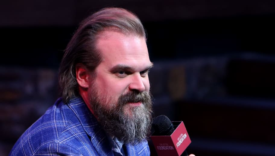 """LOS ANGELES, CALIFORNIA - JUNE 29:  David Harbour speaks onstage during SAG-AFTRA Foundation's sneak preview of """"Stranger Things 3"""" on June 29, 2019 in Los Angeles, California. (Photo by Randy Shropshire/Getty Images for SAG-AFTRA Foundation)"""