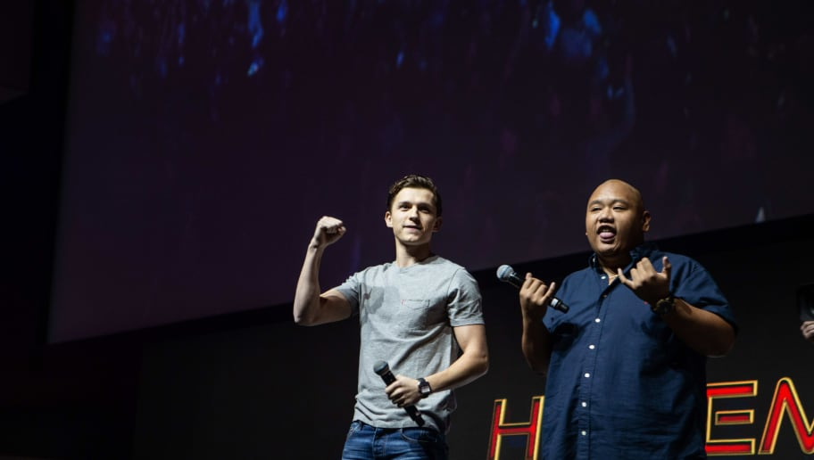 SAO PAULO, BRAZIL - DECEMBER 08: Tom Holland and Jacob Batalon  at Sony presentation during Comic Con Sao Paulo on December 8, 2018 in Sao Paulo, Brazil. (Photo by Rebeca Figueiredo Amorim/Getty Images for Sony)