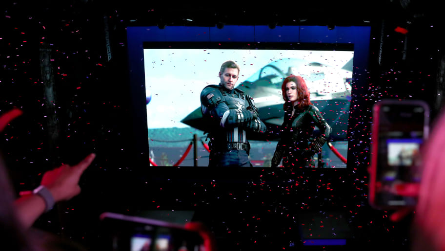 LOS ANGELES, CALIFORNIA - JUNE 10: Fans react to Marvel's Avengers game content during Square Enix Live E3 2019 in downtown Los Angeles on Monday, June 10, 2019. (Photo by Joe Scarnici/Getty Images For Square Enix)