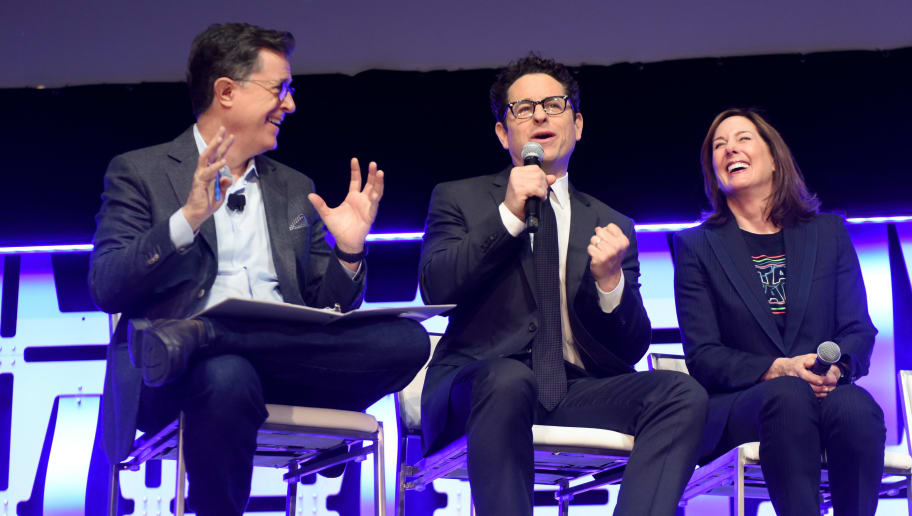 "CHICAGO, IL - APRIL 12: (L-R) Moderator Stephen Colbert, Director J.J. Abrams and Producer Kathleen Kennedy onstage during ""The Rise of Skywalker"" panel at the Star Wars Celebration at McCormick Place Convention Center on April 12, 2019 in Chicago, Illinois.  (Photo by Daniel Boczarski/Getty Images for Disney )"