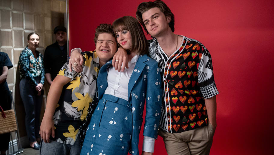 "WEST HOLLYWOOD, CALIFORNIA - JUNE 27: Gaten Matarazzo, Maya Hawke and Joe Keery attend the Season 3 ""Stranger Things"" press junket at The London Hotel on June 27, 2019 in West Hollywood, California. (Photo by Emma McIntyre/Getty Images for Netflix)"