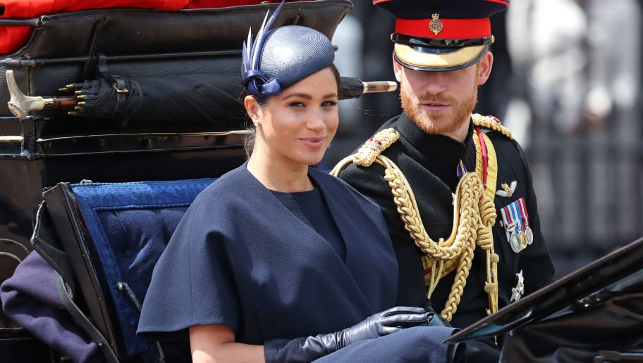 LONDON, ENGLAND - JUNE 08: Meghan, Duchess of Sussex and Prince Harry, Duke of Sussex arrive at Trooping The Colour, the Queen's annual birthday parade, on June 08, 2019 in London, England. (Photo by Chris Jackson/Getty Images)