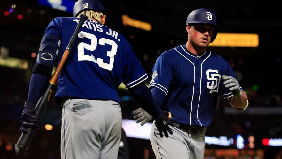 SAN FRANCISCO, CALIFORNIA - APRIL 09: Hunter Renfroe #10 celebrates a home run with Fernando Tatis Jr. #23 of the San Diego Padres during the seventh inning against the San Francisco Giants at Oracle Park on April 09, 2019 in San Francisco, California. (Photo by Daniel Shirey/Getty Images)