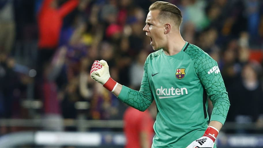 Barcelona's German goalkeeper Marc-Andre Ter Stegen celebrates his team's goal during the Spanish league football match between FC Barcelona and Real Madrid CF at the Camp Nou stadium in Barcelona on May 6, 2018. (Photo by Pau Barrena / AFP)        (Photo credit should read PAU BARRENA/AFP/Getty Images)