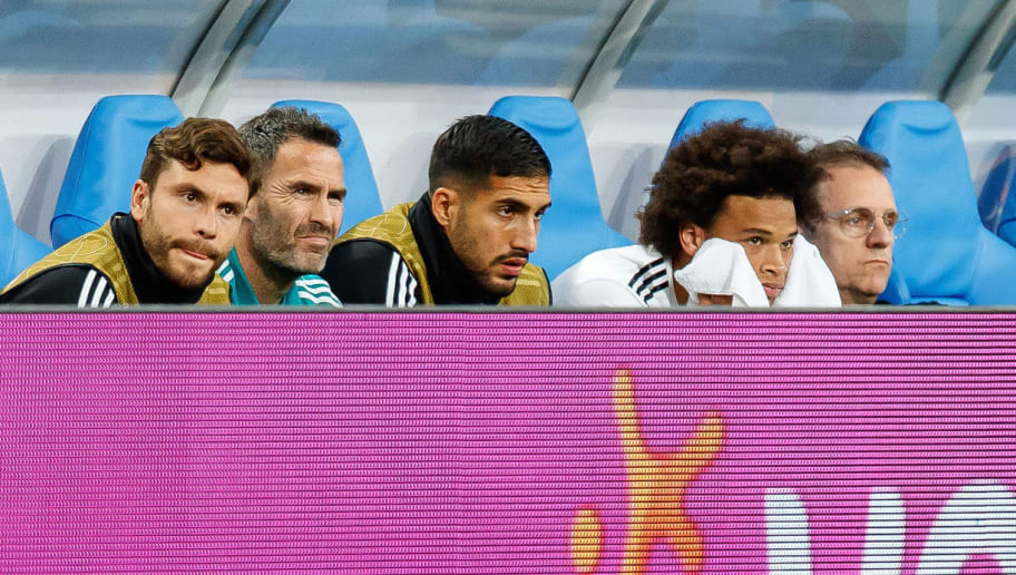 PARIS, FRANCE - OCTOBER 16: Jonas Hector of Germany, Emre Can of Germany, Leroy Sane of Germany look on during the UEFA Nations League A group one match between France and Germany at Stade de France on October 16, 2018 in Paris, France. (Photo by TF-Images/Getty Images)