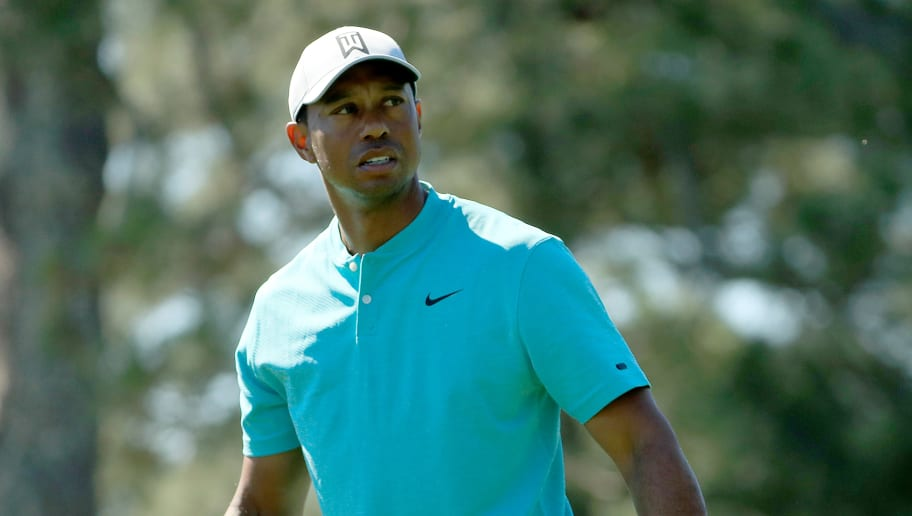 AUGUSTA, GEORGIA - APRIL 10: Tiger Woods of the United States looks on during a practice round prior to the Masters at Augusta National Golf Club on April 10, 2019 in Augusta, Georgia. (Photo by Mike Ehrmann/Getty Images)