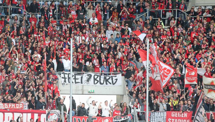 Sinsheim, Germany 15.10.2016, 1.Bundesliga 7. Spieltag, TSG 1899 Hoffenheim -  SC Freiburg, Fans im Freiburger Block  (Photo by TF-Images/Getty Images)