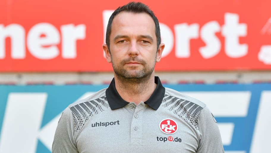 KAISERSLAUTERN, GERMANY - AUGUST 23: Team manager Boris Notzon of 1. FC Kaiserslautern poses during the team presentation at Fritz-Walter-Stadion on August 23, 2017 in Kaiserslautern, Germany.  (Photo by Sebastian Widmann/Bongarts/Getty Images)
