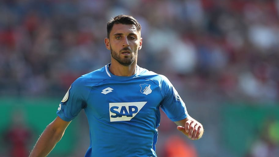 KAISERSLAUTERN, GERMANY - AUGUST 18: Vincenzo Grifo of Hoffenheim in action during the first round DFB Cup match between 1. FC Kaiserslautern and TSG 1899 Hoffenheim at Fritz-Walter-Stadion on August 18, 2018 in Kaiserslautern, Germany.  (Photo by Christian Kaspar-Bartke/Bongarts/Getty Images)