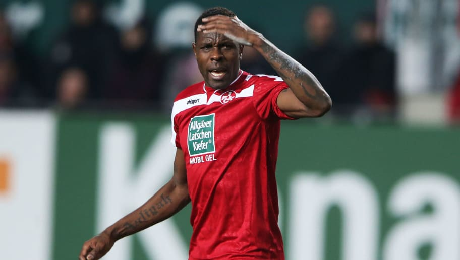 KAISERSLAUTERN, GERMANY - DECEMBER 09:  Mohamadou Idrissou of Kaiserslautern reacts during the Second Bundesliga match between 1. FC Kaiserslautern and Fortuna Duesseldorf at Fritz-Walter-Stadion on December 9, 2013 in Kaiserslautern, Germany.  (Photo by Simon Hofmann/Bongarts/Getty Images)