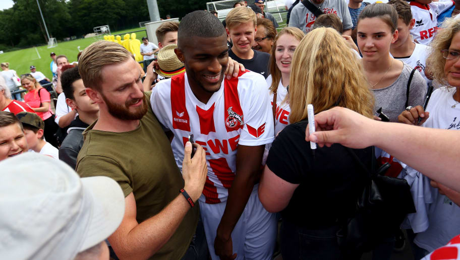 COLOGNE, GERMANY - JULY 03:  Anthony Modeste poses with the fans after the training session of 1. FC Koeln at RheinEnergieSportpark on July 3, 2017 in Cologne, Germany.  (Photo by Christof Koepsel/Bongarts/Getty Images)