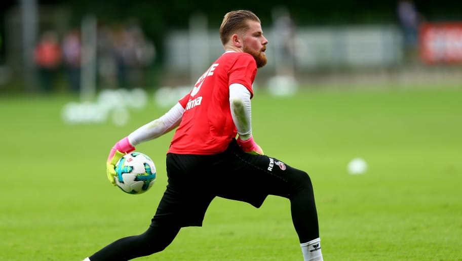 COLOGNE, GERMANY - JULY 03: Timo Horn attends the training session of 1. FC Koeln at RheinEnergieSportpark on July 3, 2017 in Cologne, Germany.  (Photo by Christof Koepsel/Bongarts/Getty Images)