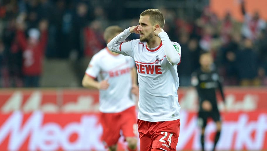 COLOGNE, GERMANY - DECEMBER 17: Dominick Drexler of 1. FC Koeln celebrates after scoring his team's second goal during the Second Bundesliga match between 1. FC Koeln and 1. FC Magdeburg at RheinEnergieStadion on December 17, 2018 in Cologne, Germany. (Photo by TF-Images/TF-Images via Getty Images)