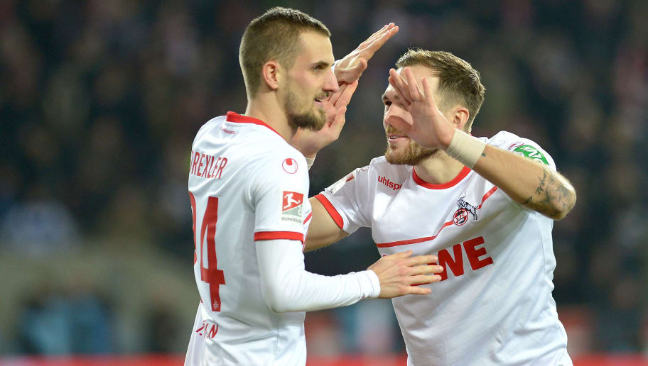 COLOGNE, GERMANY - DECEMBER 17: Dominick Drexler of 1. FC Koeln and Rafael Czichos of 1. FC Koeln celebrates after scoring his team's second goal during the Second Bundesliga match between 1. FC Koeln and 1. FC Magdeburg at RheinEnergieStadion on December 17, 2018 in Cologne, Germany. (Photo by TF-Images/TF-Images via Getty Images)