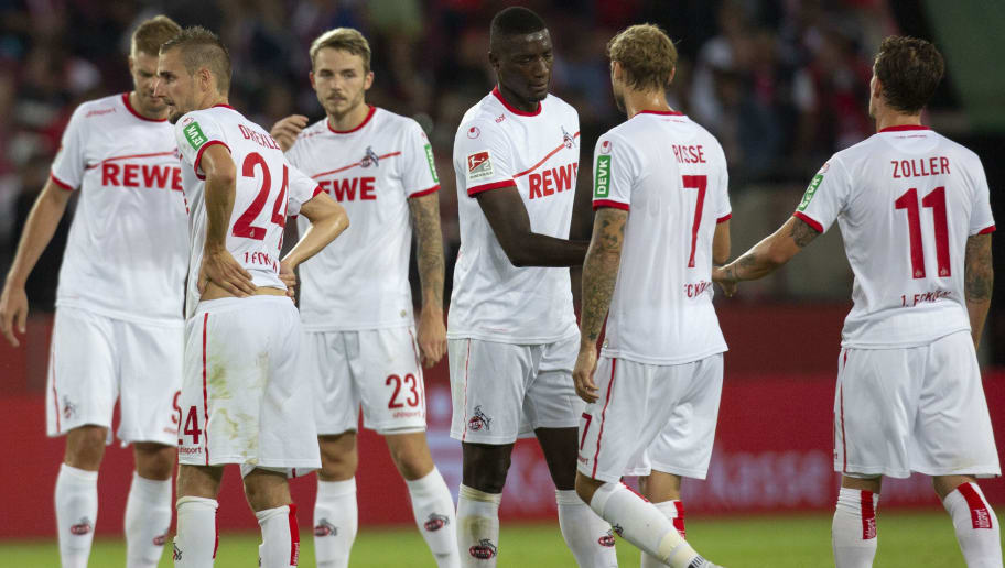 COLOGNE, GERMANY - AUGUST 13: Simon Terodde, Dominick Drexler, Jannes Horn, Sehrou Guirassy, Marcel Risse and Simon Zoller of Cologne stand close after the Second Bundesliga match between 1. FC Koeln and 1. FC Union Berlin at RheinEnergieStadion on August 13, 2018 in Cologne, Germany. (Photo by Juergen Schwarz/Bongarts/Getty Images)