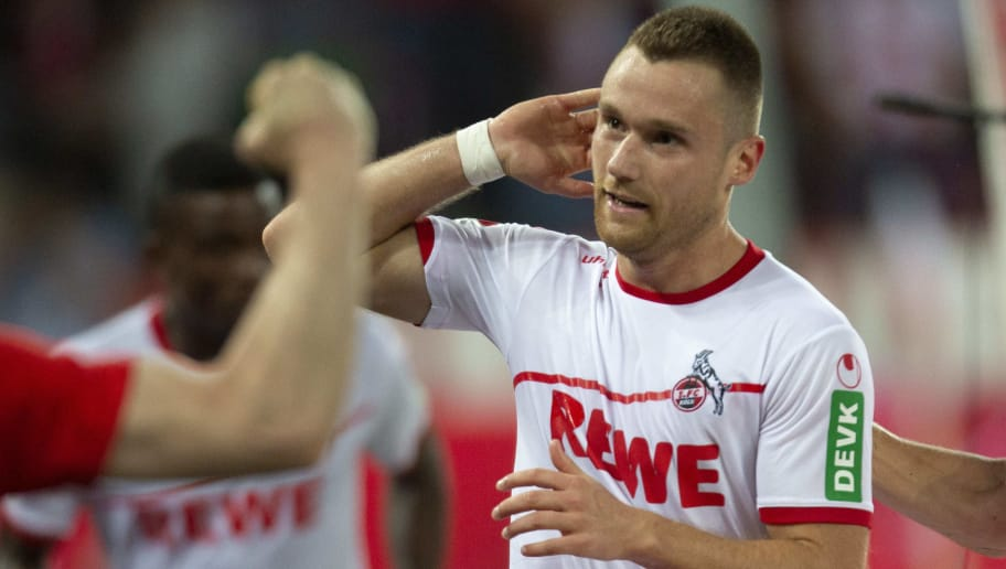 COLOGNE, GERMANY - AUGUST 13: Christian Clemens of Cologne (L) celebrates after scoring during the Second Bundesliga match between 1. FC Koeln and 1. FC Union Berlin at RheinEnergieStadion on August 13, 2018 in Cologne, Germany. (Photo by Juergen Schwarz/Bongarts/Getty Images)