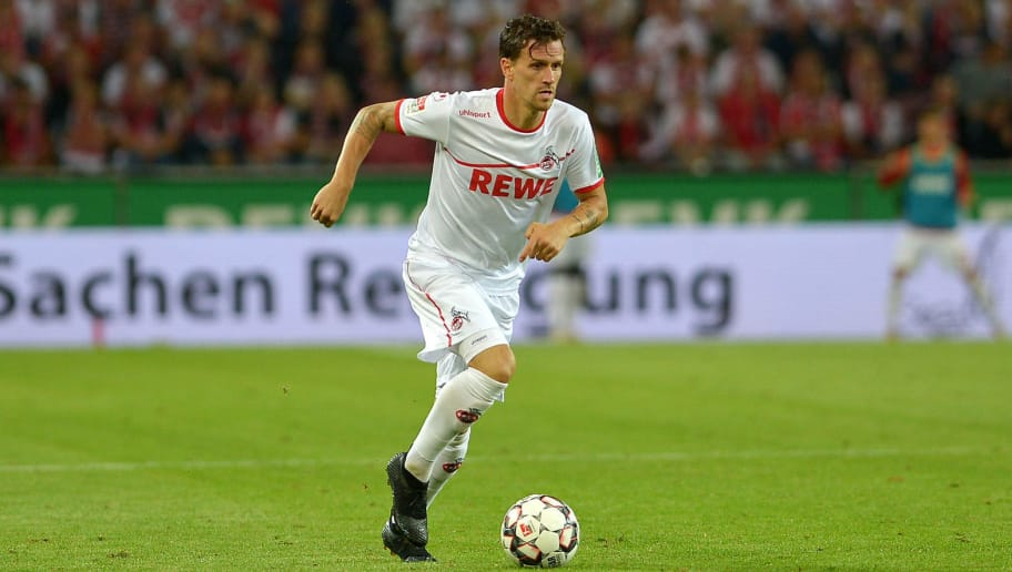 COLOGNE, GERMANY - AUGUST 13: Simon Zoller of FC Koeln controls the ball during the Second Bundesliga match between 1. FC Koeln and 1. FC Union Berlin at RheinEnergieStadion on August 13, 2018 in Cologne, Germany. (Photo by TF-Images/Getty Images)