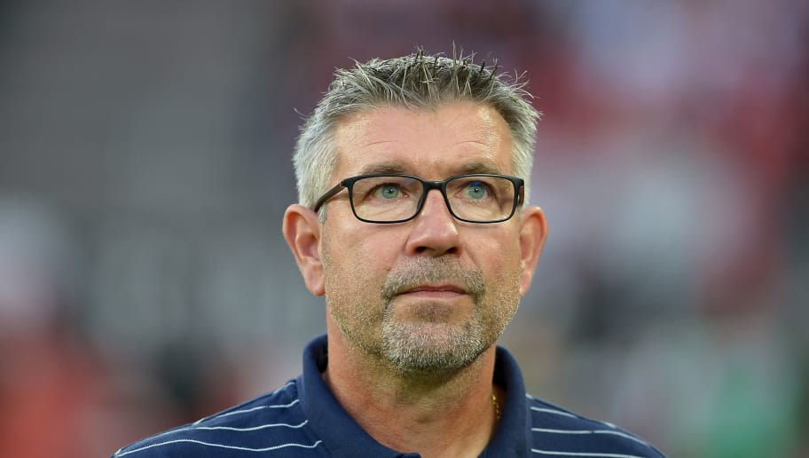 COLOGNE, GERMANY - AUGUST 13: Head coach Urs Fischer of Union Berlin looks on prior to the Second Bundesliga match between 1. FC Koeln and 1. FC Union Berlin at RheinEnergieStadion on August 13, 2018 in Cologne, Germany. (Photo by TF-Images/Getty Images)