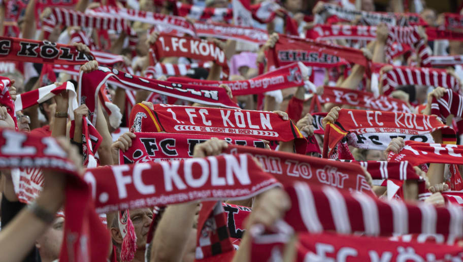 COLOGNE, GERMANY - AUGUST 13: Supporters of Cologne lift their scarfs during the Second Bundesliga match between 1. FC Koeln and 1. FC Union Berlin at RheinEnergieStadion on August 13, 2018 in Cologne, Germany. (Photo by Juergen Schwarz/Bongarts/Getty Images)