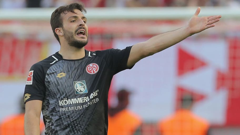 COLOGNE, GERMANY - APRIL 07: Giulio Donati of Mainz gestures during the Bundesliga match between 1. FC Koeln and 1. FSV Mainz 05 at RheinEnergieStadion on April 7, 2018 in Cologne, Germany. (Photo by TF-Images/Getty Images)