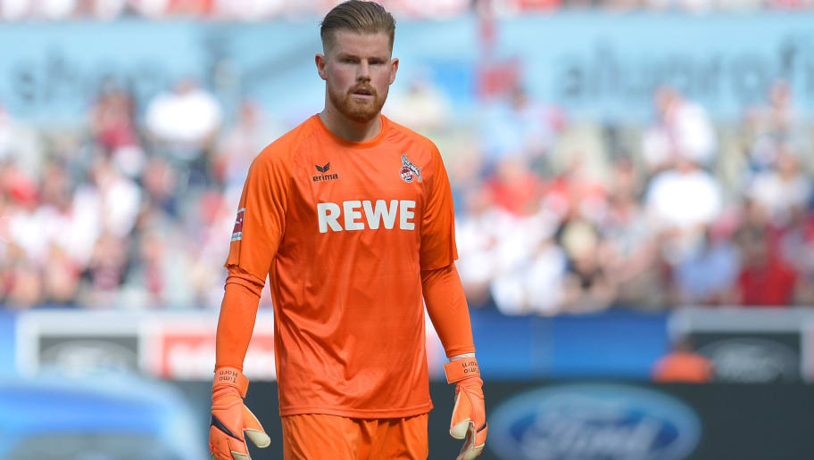COLOGNE, GERMANY - APRIL 07: Goalkeeper Timo Horn of Koeln looks on during the Bundesliga match between 1. FC Koeln and 1. FSV Mainz 05 at RheinEnergieStadion on April 7, 2018 in Cologne, Germany. (Photo by TF-Images/Getty Images)