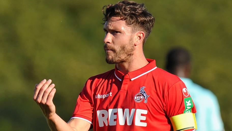 BONN, GERMANY - JULY 27: Jonas Hector of Koeln gestures during the pre-season friendly match between 1. FC Koeln and 1. FSV Mainz 05 at Sportpark Nord on July 27, 2018 in Bonn, Germany. (Photo by TF-Images/Getty Images)
