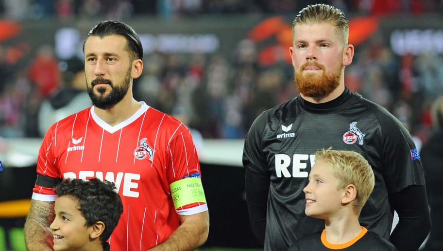 COLOGNE, GERMANY - NOVEMBER 23: Dominic Maroh of Cologne and Goalkeeper Timo Horn of Cologne look on during the UEFA Europa League Group H soccer match between 1.FC Cologne and Arsenal FC at the Rhein-Energie stadium in Cologne, Germany on November 23, 2017. (Photo by TF-Images/TF-Images via Getty Images)