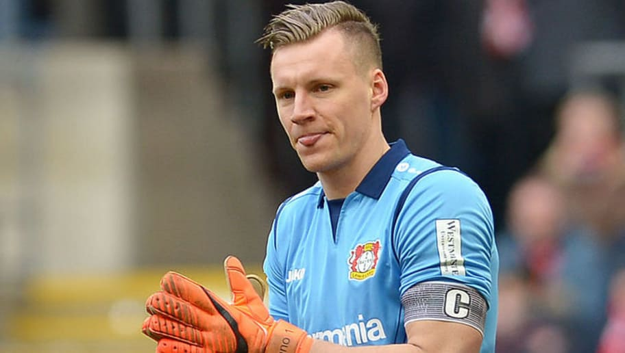 COLOGNE, GERMANY - MARCH 18: Goalkeeper Bernd Leno of Leverkusen gestures during the Bundesliga match between 1. FC Koeln and Bayer 04 Leverkusen at RheinEnergieStadion on March 18, 2018 in Cologne, Germany. (Photo by TF-Images/Getty Images)