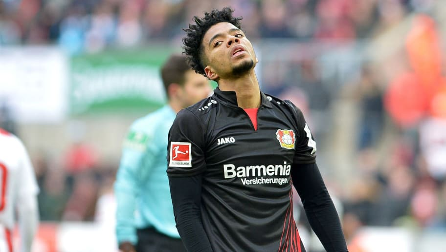 COLOGNE, GERMANY - MARCH 18: Benjamin Henrichs of Leverkusen looks dejected during the Bundesliga match between 1. FC Koeln and Bayer 04 Leverkusen at RheinEnergieStadion on March 18, 2018 in Cologne, Germany. (Photo by TF-Images/Getty Images)