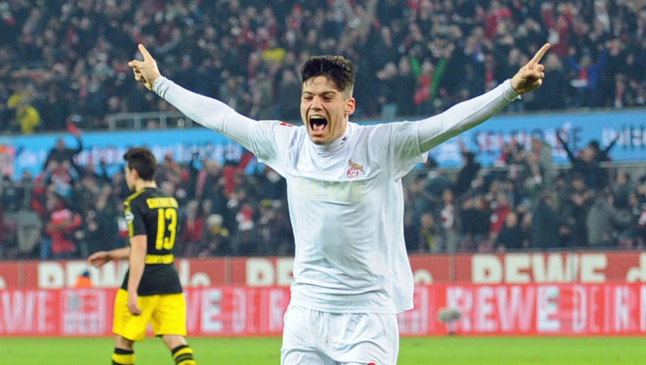 COLOGNE, GERMANY - FEBRUARY 02: Jorge Mere of Koeln celebrates after scoring his team`s second goal during the Bundesliga match between 1. FC Koeln and Borussia Dortmund at RheinEnergieStadion on February 2, 2018 in Cologne, Germany. (Photo by TF-Images/TF-Images via Getty Images)