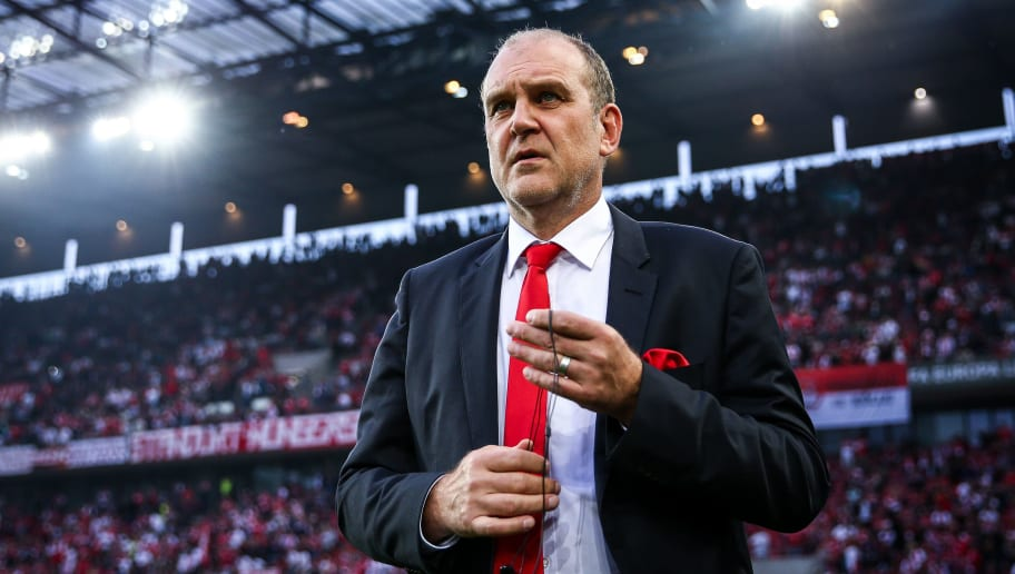 COLOGNE, GERMANY - SEPTEMBER 28: FC Koeln Sporting director, Jorg Schmadtke looks on during the UEFA Europa League group H match between 1. FC Koeln and Crvena Zvezda at RheinEnergieStadion on September 28, 2017 in Cologne, Germany. (Photo by Maja Hitij/Bongarts/Getty Images)