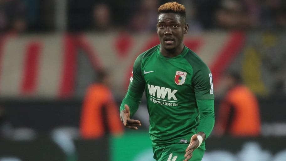 COLONGE, GERMANY - JANUARY 27: Daniel Opare of Augsburg controls the ball during the Bundesliga match between 1 FC Koeln and FC Augsburg at RheinEnergieStadion on January 27, 2018 in Colonge, Germany (Photo by TF-Images/TF-Images via Getty Images)