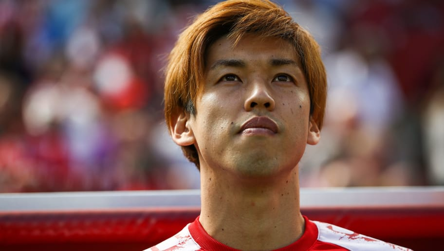 COLOGNE, GERMANY - MAY 05: Yuya Osako #13 of 1.FC Koeln looks on prior the Bundesliga match between 1. FC Koeln and FC Bayern Muenchen at RheinEnergieStadion on May 5, 2018 in Cologne, Germany. (Photo by Maja Hitij/Bongarts/Getty Images)