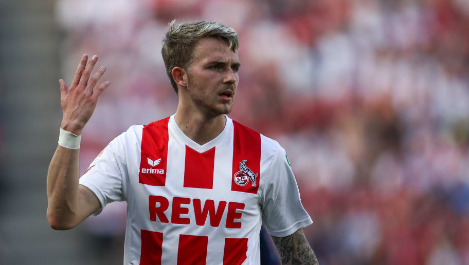 COLOGNE, GERMANY - MAY 05: Jannes Horn #23 of 1.FC Koeln reacts during the Bundesliga match between 1. FC Koeln and FC Bayern Muenchen at RheinEnergieStadion on May 5, 2018 in Cologne, Germany. (Photo by Maja Hitij/Bongarts/Getty Images)